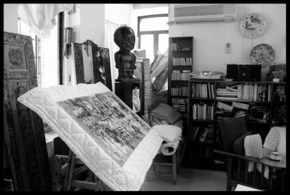 Syrian artist Fadi Yazigi's studio, Bab Touma, Damascus, Syria, May 2010. Photo credit Eman Haram