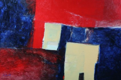 Hadi Toron. Red Is My Village. 2008. 48x36 inches. Acrylic on canvas