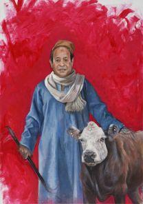 Abdalla Al Omari, Abdelfattah, 2016, oil and acrylic on canvas, 200 × 140 cm