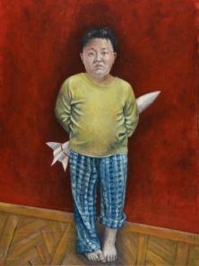 Abdalla Al Omari, Kim, 2015, oil and acrylic on canvas, 200 × 140 cm