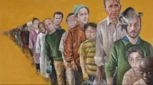 Abdalla Al Omari, The Queue, 2016, oil and acrylic on canvas, 160 × 210 cm