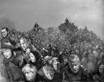 Abdalla Al Omari, Yarmouk , 2016, acrylic on canvas, 190 × 150 cm