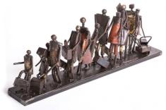 Ginane Makki Bacho (Born Beirut, Lebanon, 1947. Refugees, 2018, Steel, each: 76.2x12.7x22.9 cm. Courtesy of the artist.